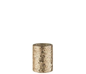 J-Line Theelichthouder Cilinder Gebroken Glas Goud - Medium