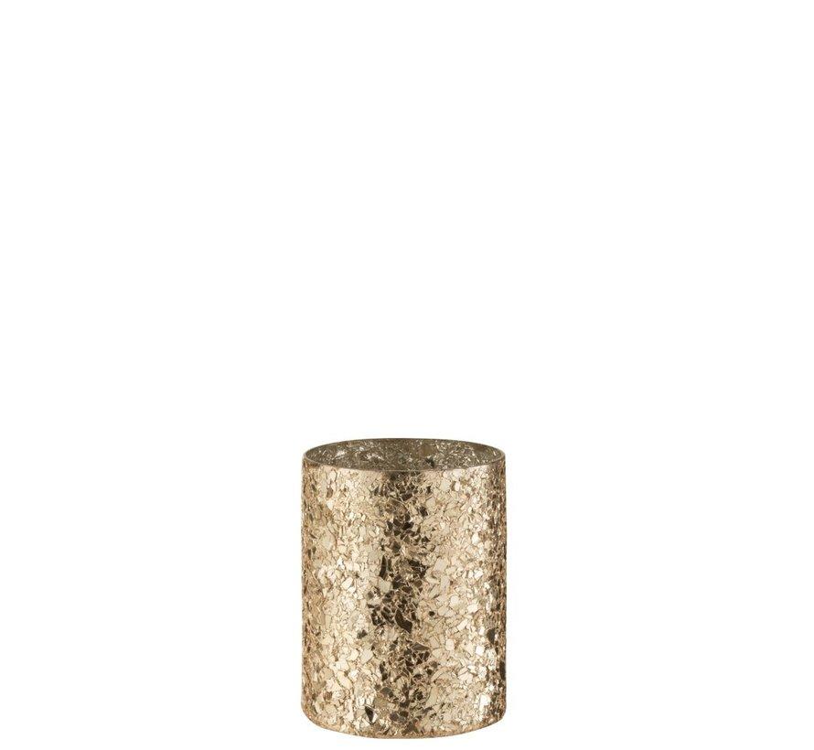 Tealight Holder Cylinder Broken Glass Gold - Medium