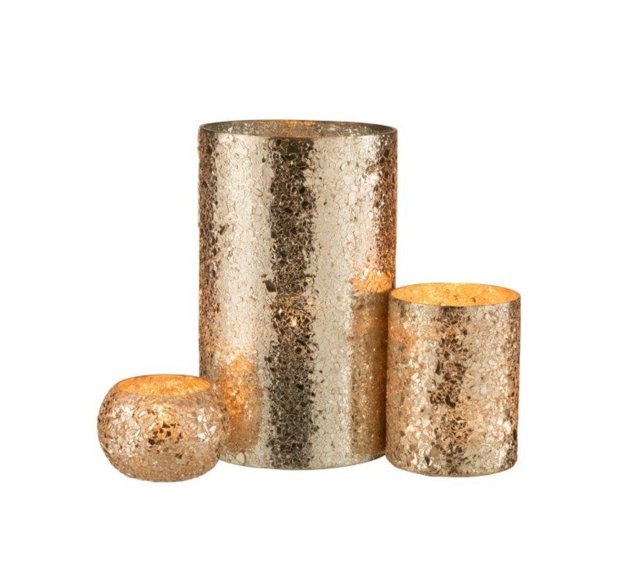 Theelichthouder Cilinder Gebroken Glas Goud - Medium