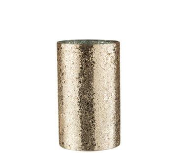 J-Line Theelichthouder Cilinder Gebroken Glas Goud - Large