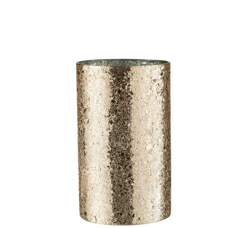 J-Line  Tealight Holder Cylinder Broken Glass Gold - Large
