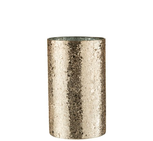 J -Line Theelichthouder Cilinder Gebroken Glas Goud - Large