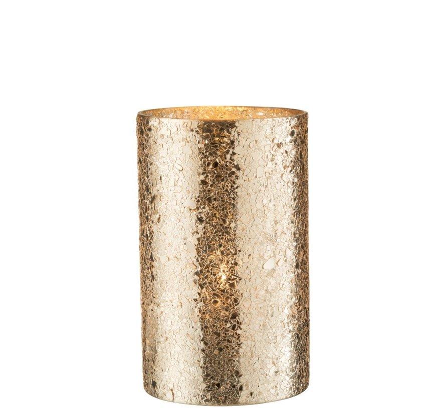 Tealight Holder Cylinder Broken Glass Gold - Large