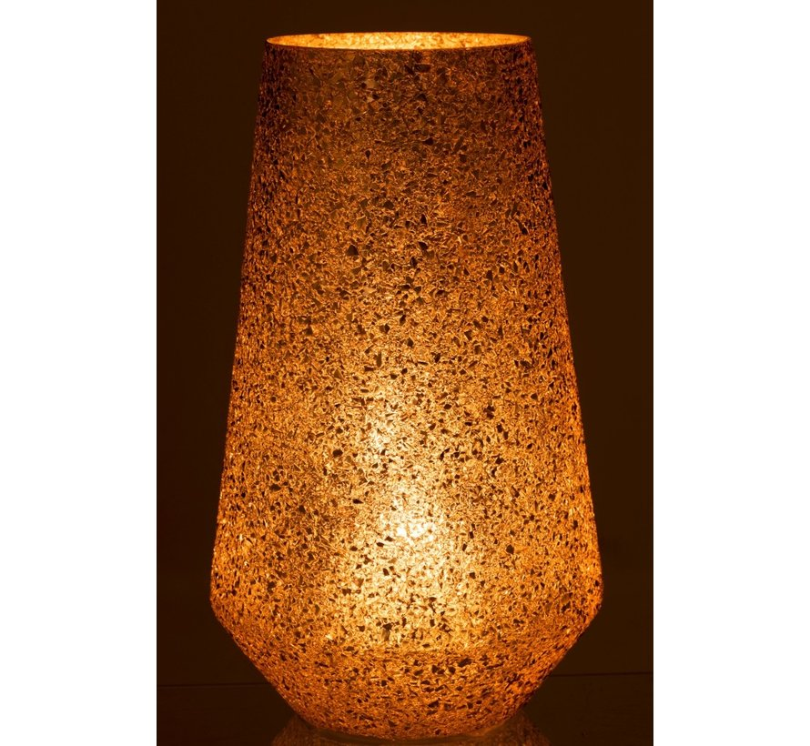Theelichthouder Conisch Gebroken Glas Goud - Extra Large