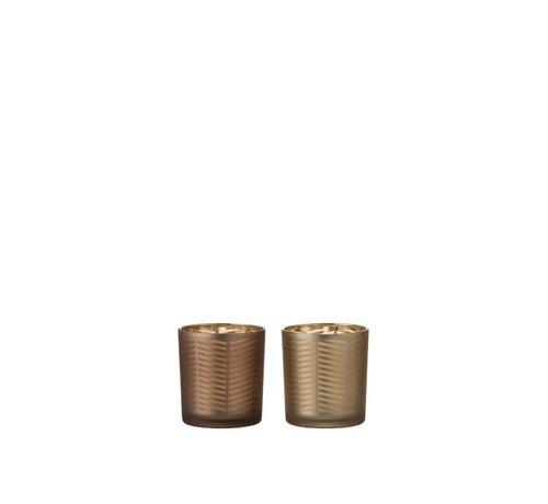 J -Line Theelichthouders Glas Cilinder Zigzag Goud Bruin - Small