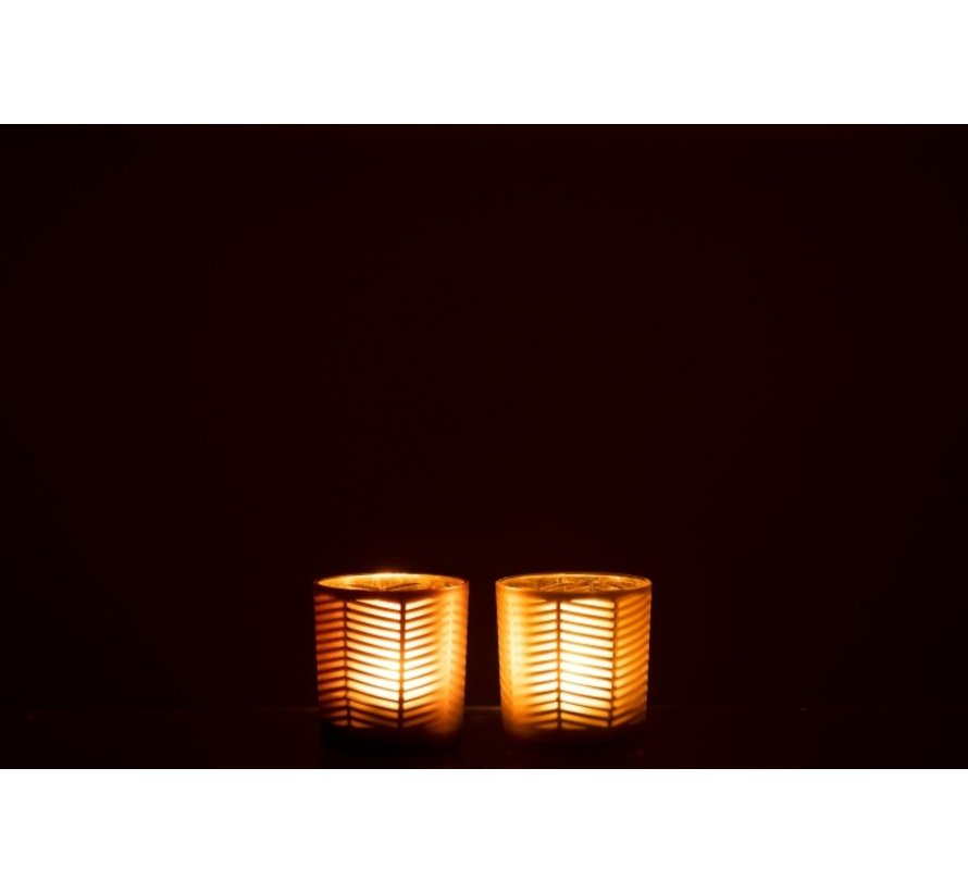 Theelichthouders Glas Cilinder Zigzag Goud Bruin - Small