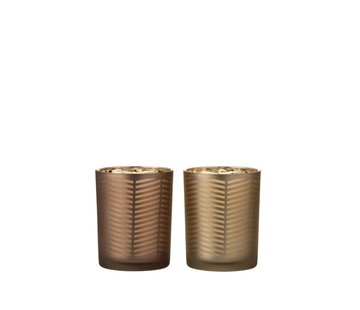 J -Line Theelichthouders Glas Cilinder Zigzag Goud Bruin - Medium