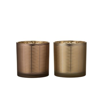J -Line Theelichthouders Glas Cilinder Zigzag Goud Bruin - Large