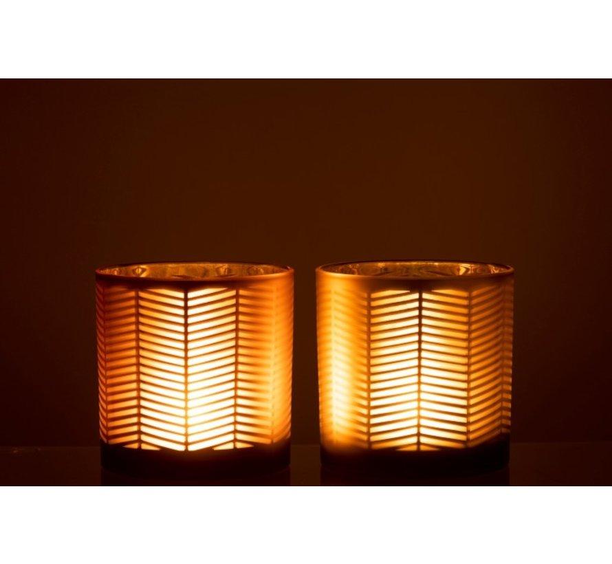 Theelichthouders Glas Cilinder Zigzag Goud Bruin - Large