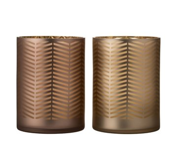 J -Line Theelichthouders Glas Cilinder Zigzag Goud Bruin - Extra Large