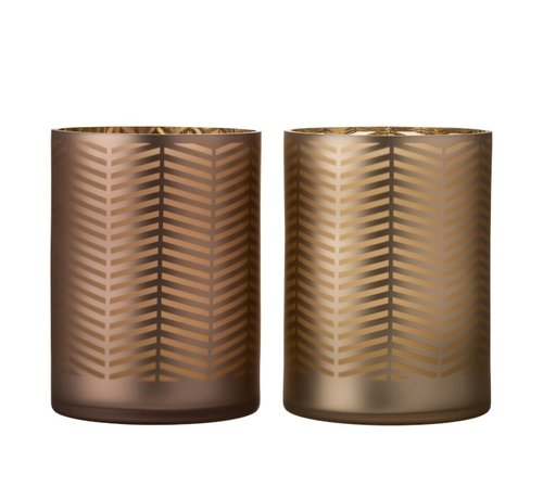 J -Line Theelichthouders Glas Cilinder Zigzag Goud Bruin - Extra Large