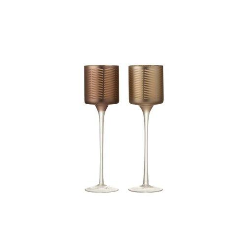 J -Line Theelichthouders Glas Op Voet Zigzag Goud Bruin - Small