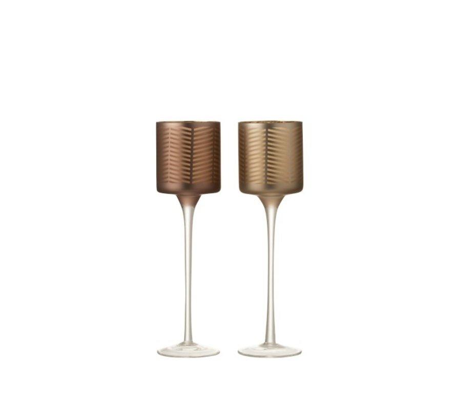 Theelichthouders Glas Op Voet Zigzag Goud Bruin - Small