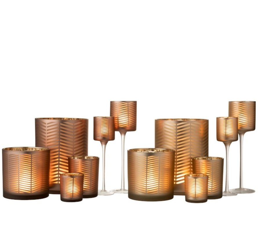Tealight Holders Glass On Foot Zigzag Gold Brown - Small