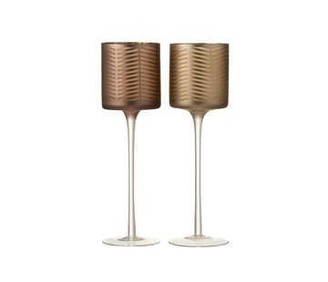 J -Line Tealight Holders Glass On Foot Zigzag Gold Brown - Large