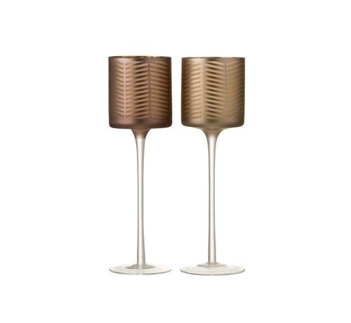 J-Line Theelichthouders Glas Op Voet Zigzag Goud Bruin - Large