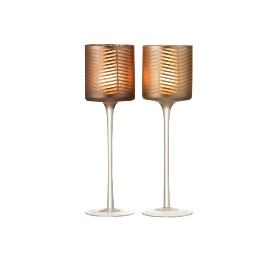 Theelichthouders Glas Op Voet Zigzag Goud Bruin - Large