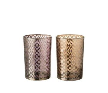 J-Line Theelichthouders Glas Cilinder Oosters Paars Bruin - Large
