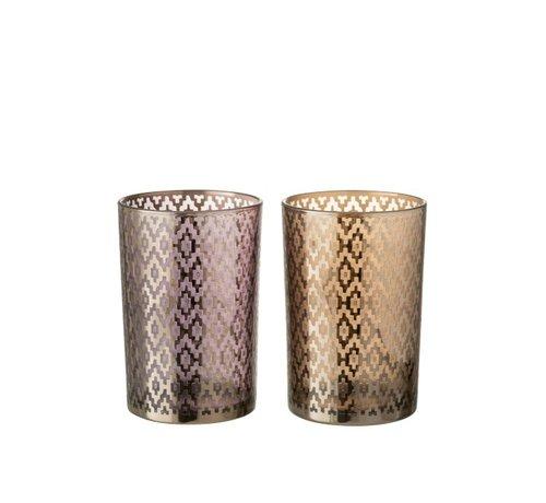 J -Line Tealight Holders Glass Cylinder Oriental Purple Brown - Large