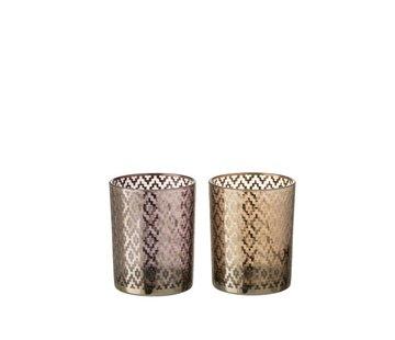 J-Line Theelichthouders Glas Cilinder Oosters Paars Bruin - Medium