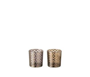 J -Line Tealight Holders Glass Cylinder Oriental Purple Brown - Small