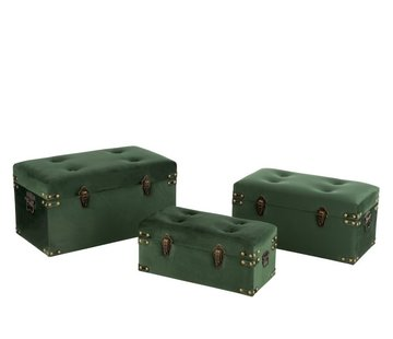 J -Line Storage Cases Rectangle Metal Clasps Velvet - Dark Green