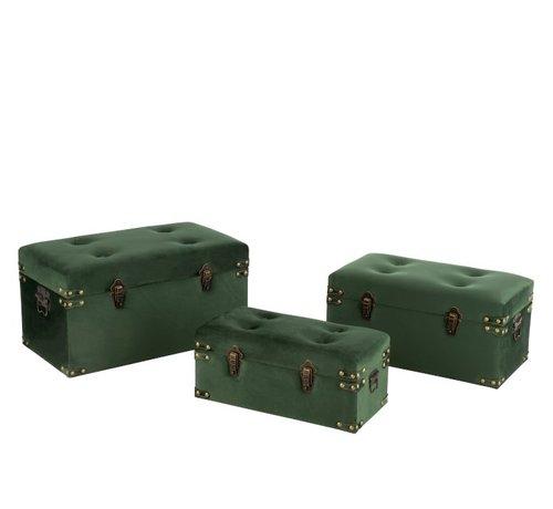 J-Line Storage Cases Rectangle Metal Clasps Velvet - Dark Green