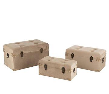 J -Line Storage Cases Rectangle Metal Clasps Velvet - Beige