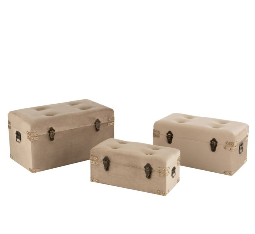 Storage Cases Rectangle Metal Clasps Velvet - Beige