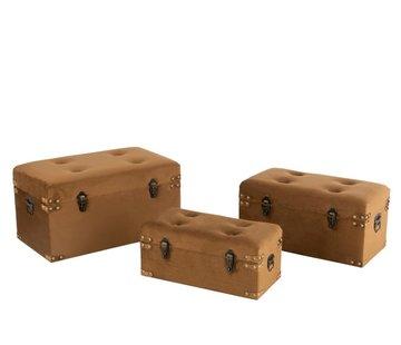J -Line Storage Cases Rectangle Metal Clasps Velvet - Brown