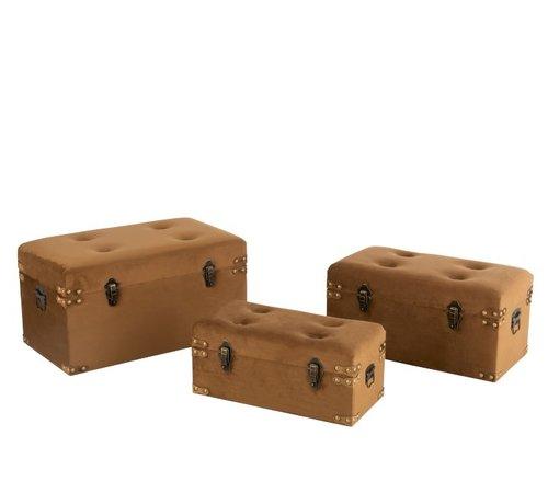 J-Line Storage Cases Rectangle Metal Clasps Velvet - Brown