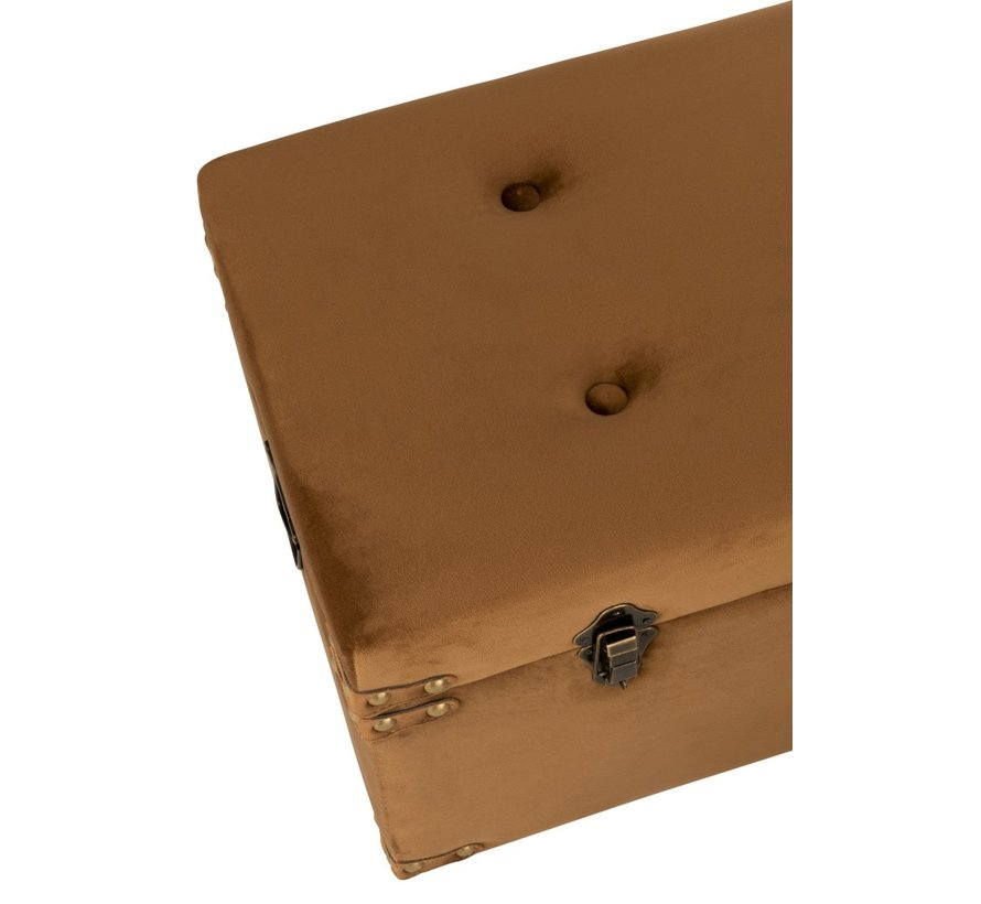 Storage Cases Rectangle Metal Clasps Velvet - Brown