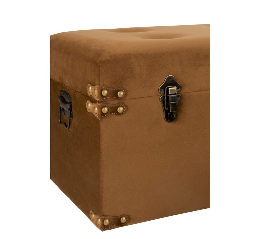 Storage Cases Rectangle Metal Clasps Velvet - Brown
