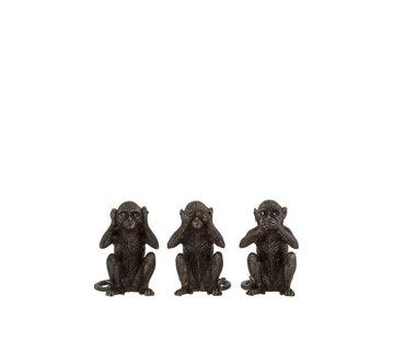 J -Line Decoration Figures Monkeys Hear See Silence Dark brown - Small