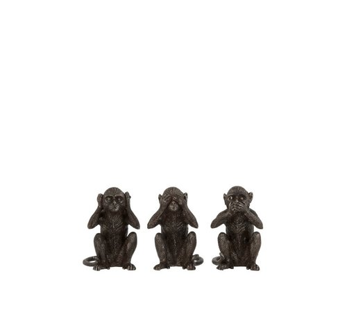 J -Line Decoration Figures Monkeys Hear See Silence Dark brown - Small