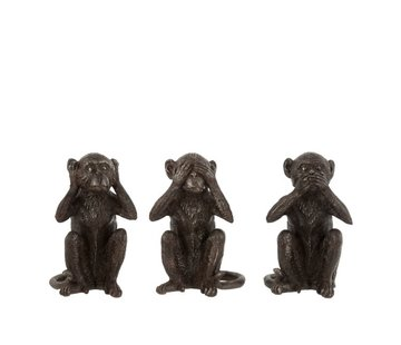 J-Line  Decoration Figures Monkeys Hear See Silence Dark Brown - Large