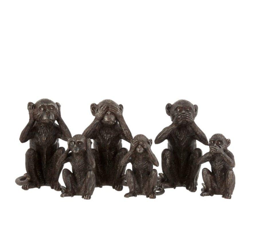 Decoration Figures Monkeys Hear See Silence Dark Brown - Large