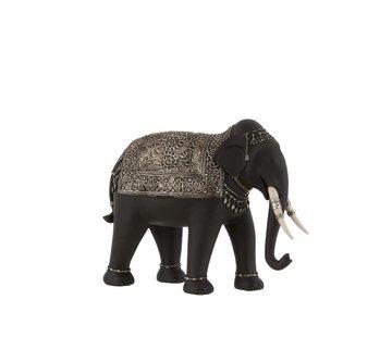 J -Line Decoration Elephant Ethnic Jewelry Black Silver - Small
