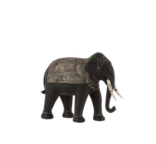 J -Line Decoratie Olifant Etnisch Sieraden Zwart Zilver - Small
