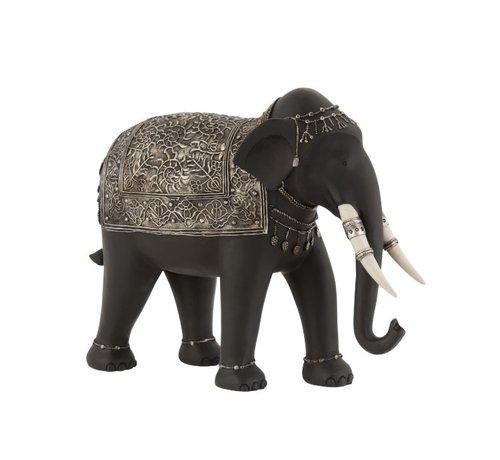 J -Line Decoration Elephant Ethnic Jewelry Black Silver - Large