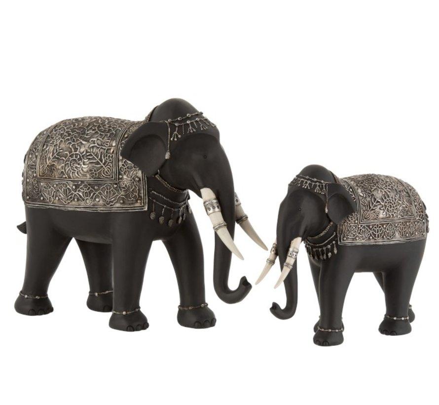 Decoration Elephant Ethnic Jewelry Black Silver - Large