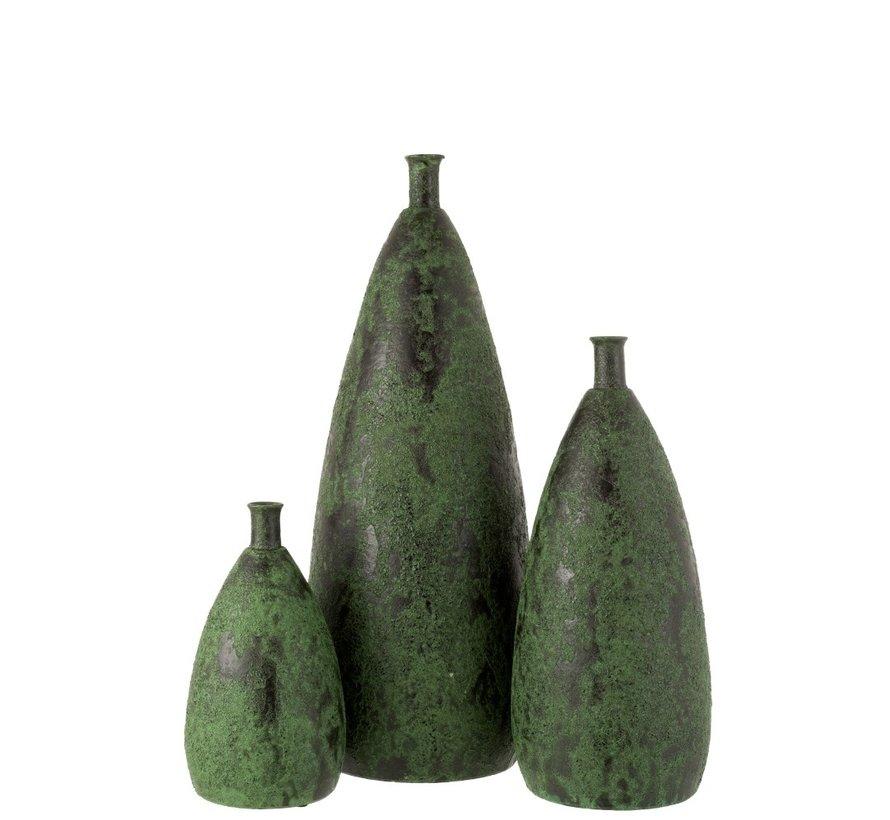 Flessen Vaas Keramiek Grof Army Groen - Medium