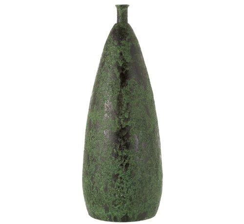 J -Line Bottles Vase Ceramic Coarse Army Green - Large