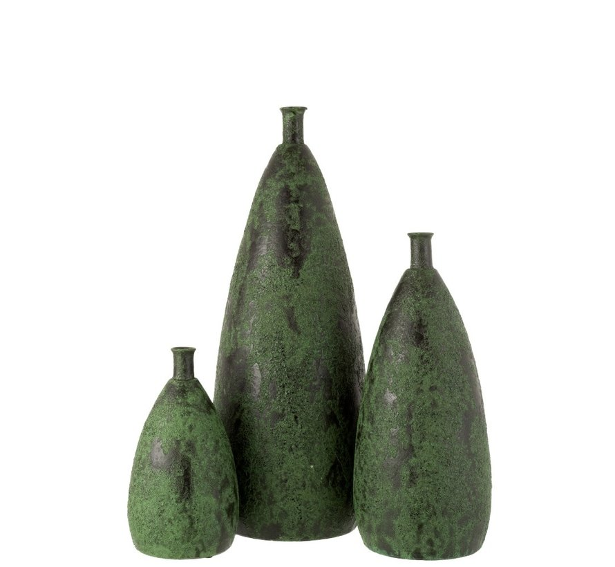 Flessen Vaas Keramiek Grof Army Groen - Large