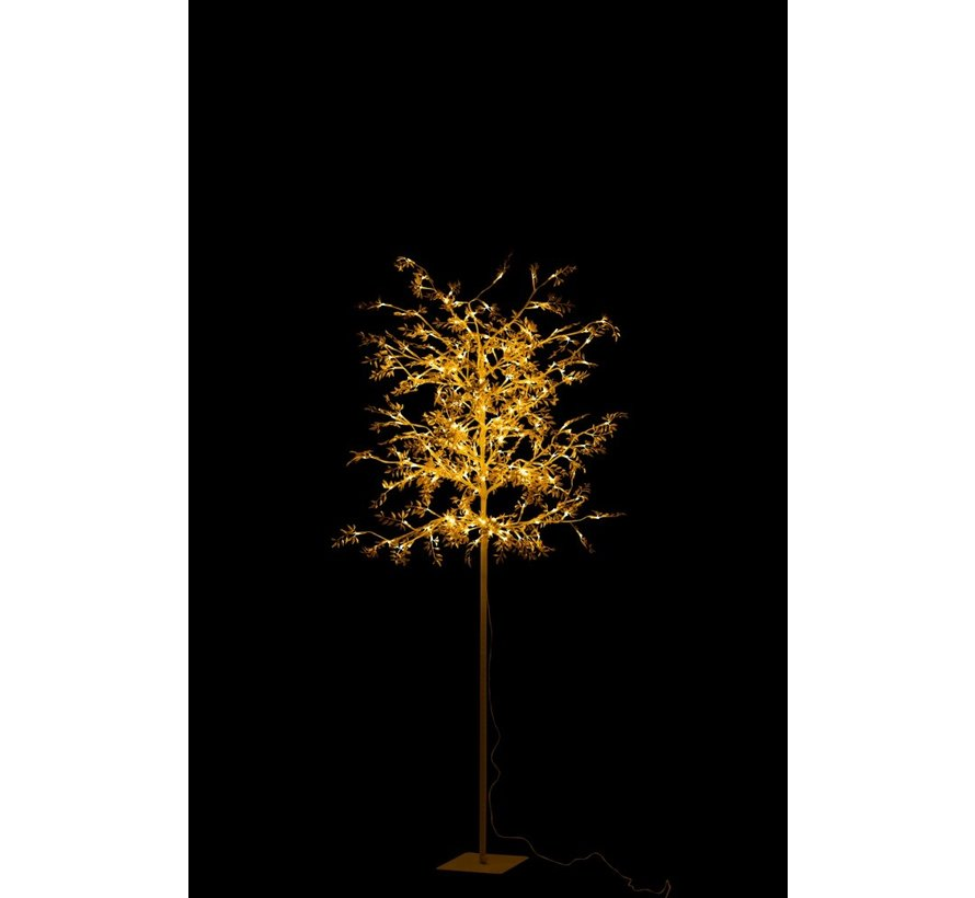 Standing Lamp Tree Leaves Glitters Led Gold - Large