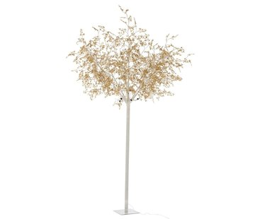 J-Line Standing Lamp Tree Leaves Glitters Led Gold - Extra Large