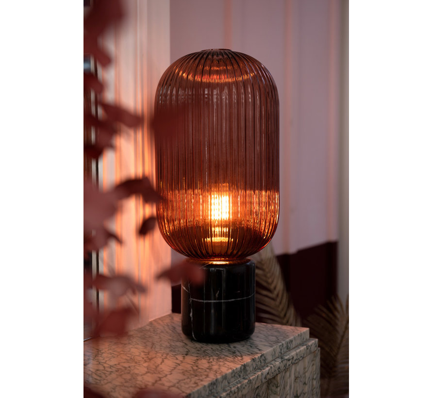 Table Lamp Ribbed Glass Long Marble Base - Transparent Red