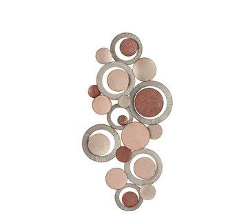 J -Line Wanddecoratie Oneffen Cirkels Metaal Roze - Grijs