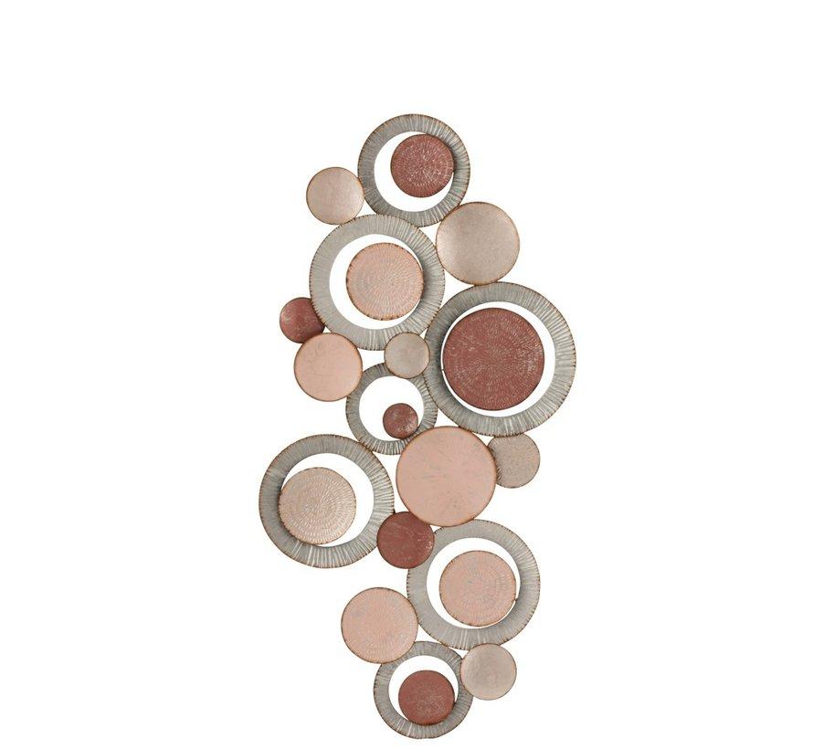 Wanddecoratie Oneffen Cirkels Metaal Roze - Grijs