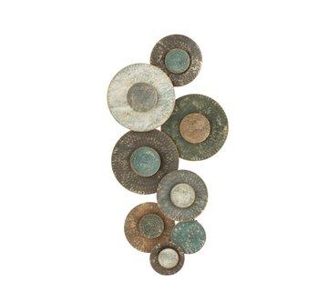 J -Line Wanddecoratie Cirkels Groot Klein Metaal Groen - Bruin